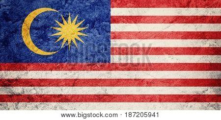 Grunge Malaysia Flag. Malaysia Flag With Grunge Texture.