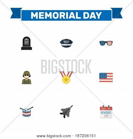 Flat Hat, Medallion, Military Man And Other Vector Elements. Set Of Day Flat Symbols Also Includes Military, Medallion, Drum Objects.
