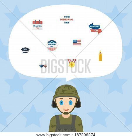 Flat Spectacles, American Banner, Fire Wax And Other Vector Elements. Set Of Day Flat Symbols Also Includes Memorial, Cap, Medal Objects.