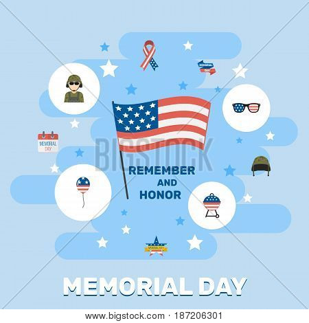 Flat Awareness, Military Man, Spectacles And Other Vector Elements. Set Of Day Flat Symbols Also Includes Usa, Soldier, Bbq Objects.