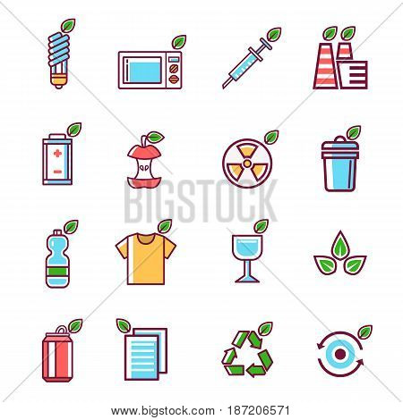 Waste rubbish pollution ecology recycling set outline eco energy concept environment trash vector illustration. ecological conservation debris reduce protection garbage disposal