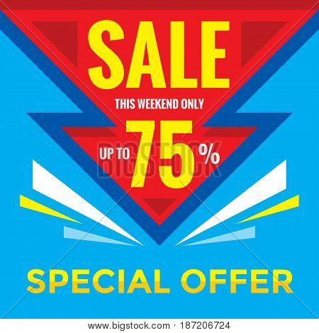 Sale discount up to 75% - vector banner concept illustration. Special offer. Abstract advertising promotion layout. Graphic design element.