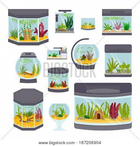 Transparent aquarium interior vector illustration isolated on white background underwater fish tank bowl habitat house. Tropical sea aquatic cartoon freshwater glass fishbowl collection.