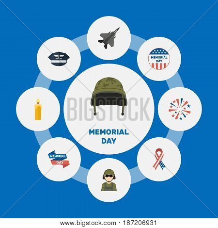 Flat Hat, Military Man, Awareness And Other Vector Elements. Set Of History Flat Symbols Also Includes Headgear, Sparklers, Fighter Objects.