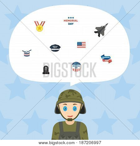 Flat Holiday, Medallion, Aircraft And Other Vector Elements. Set Of Day Flat Symbols Also Includes Holiday, Instrument, American Objects.