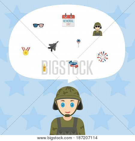 Flat Military Man, Ribbon, Decoration And Other Vector Elements. Set Of Day Flat Symbols Also Includes Award, Balloon, Spectacles Objects.