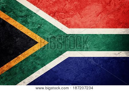 Grunge South Africa Flag. South Africa Flag With Grunge Texture.