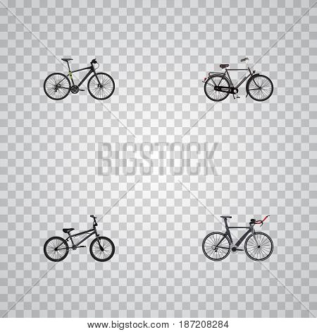 Realistic Extreme Biking, Hybrid Velocipede, Training Vehicle And Other Vector Elements. Set Of Lifestyle Realistic Symbols Also Includes Extreme, Training, Bicycle Objects.