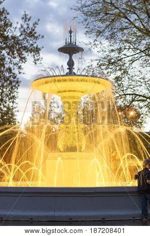 NIZHNY NOVGOROD, RUSSIA  May 19, 2016: The fountain on the square of Minin and Pozharsky. Nizhny Novgorod, Russia