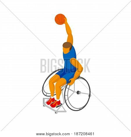 Physically disabled basketball player isolated on white background. Wheelchair basketball - sport infographics clip art. Isometric 3d vector athlete.