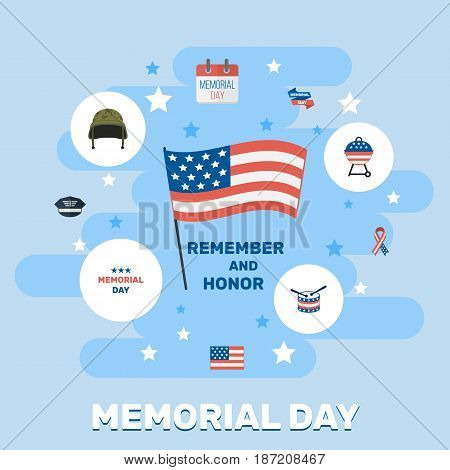 Flat Barbecue, History, Ribbon And Other Vector Elements. Set Of Memorial Flat Symbols Also Includes Calendar, Banner, Usa Objects.