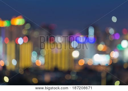 Night blurred ligth city downtown twilight abstract background