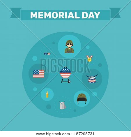 Flat Military Man, American Banner, Barbecue And Other Vector Elements. Set Of History Flat Symbols Also Includes Headgear, Spectacles, Medal Objects.