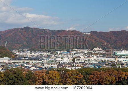 Kansai residence in mountain during autumn season Japan