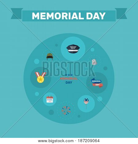 Flat Ribbon, Medallion, History And Other Vector Elements. Set Of Memorial Flat Symbols Also Includes Banner, Army, Headgear Objects.