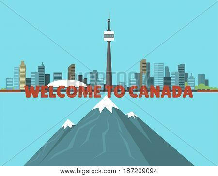 Canada city creek mountain nature skyline peak background downtown canadian cityscape vector illustration. Scenic panorama beautiful tower architecture building landscape urban tourism.