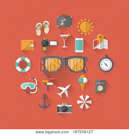 Summer holiday, tourism and vacation flat icons with long shadow effect