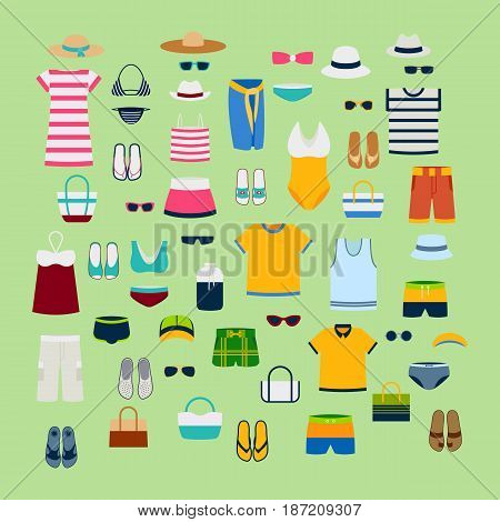 Set of summer clothes and accessories vector illustration fashion clothing sunglasses dress design. Shopping fashion image looks casual jeans flat skirt beauty hipster boutique swimsuit.