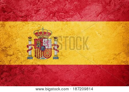 Grunge Spain Flag. Spain Flag With Grunge Texture.