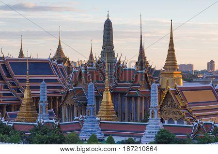 Wat Phra Kaew Thailand royal castle aerial view Bangkok Thailand Landmark