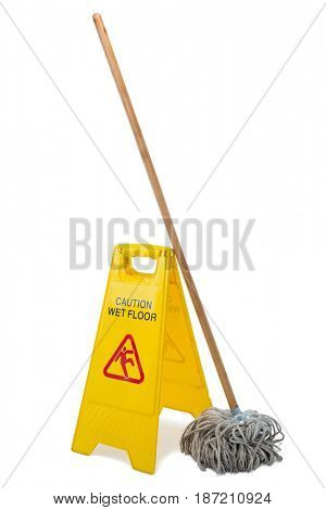 Yellow sign board with mop against white background