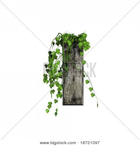 green ivy on 3d stone letter - I