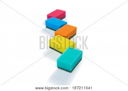 Colorful cleaning sponges against white backgroud