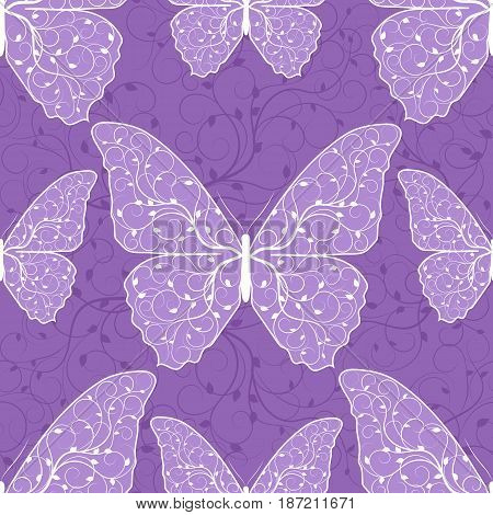 Beautiful seamless pattern with butterflies on violet background.
