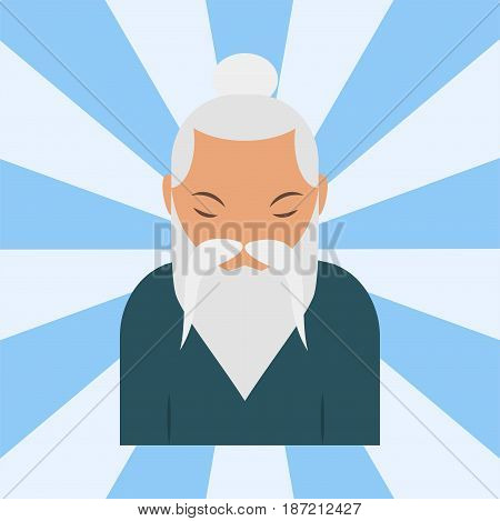 Chinese sensei old man asian elderly portrait person retired grandfather vector illustration. Adult retirement smile father oriental traditional guy character.