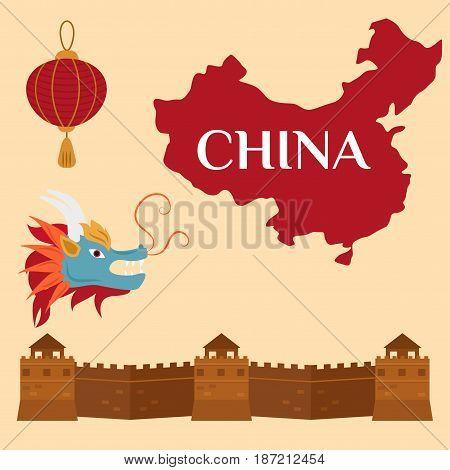 Great wall of China beijing asia landmark brick heritage chinese architecture asian landscape culture history vector illustration. Celebration antique vintage asian symbols.