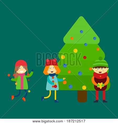 Christmas kids playing winter games skiing cartoon new year winter holidays characters vector illustration. Holiday toy scarf friend greeting december costume.