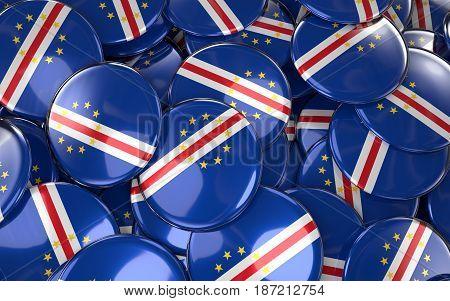 Cape Verde Badges Background - Pile Of Cabo Verdean Flag Buttons.