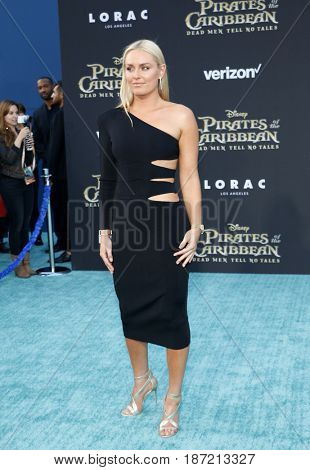 Lindsey Vonn at the U.S. premiere of 'Pirates Of The Caribbean: Dead Men Tell No Tales' held at the Dolby Theatre in Hollywood, USA on May 18, 2017.