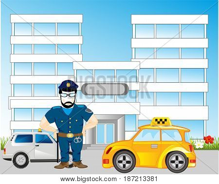 City and road with car and police