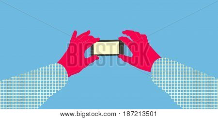 Two stylized hands in abstract checkered shirt holding smartphone with blank screen. Taking picture using mobile device concept illustration. Layered file.