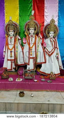 Hindu God Rama with His wife Sita & Brother Laxmana with Colorful background