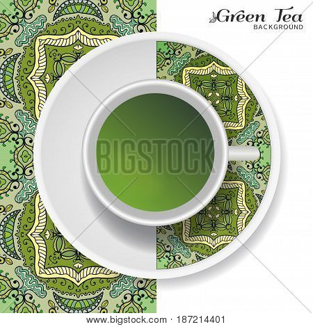 Cup of green tea with doodle ornament on a saucer and hand drawn seamless floral pattern. Business coffee break or tea time concept, interior background. Isolated cup and plate decor elements