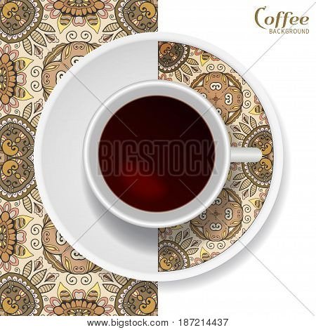Cup of coffee with colorful ornament on a saucer and vertical seamless floral geometric pattern. Business coffee break concept, interior design background. Isolated coffee cup and plate decor elements