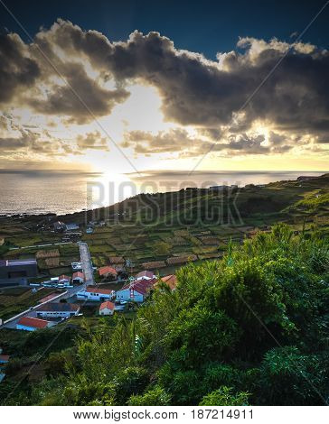 Aerial view to Vila do Corvo at sunset in Corvo island Azores Portugal