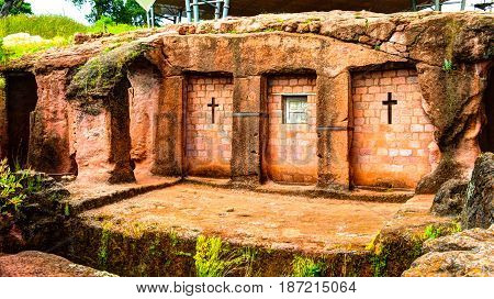 Biete Qeddus Mercoreus rock-hewn church in Lalibela Ethiopia