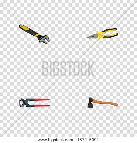 Realistic Tongs, Pliers, Hatchet And Other Vector Elements. Set Of Instruments Realistic Symbols Also Includes Pincers, Wrench, Axe Objects.