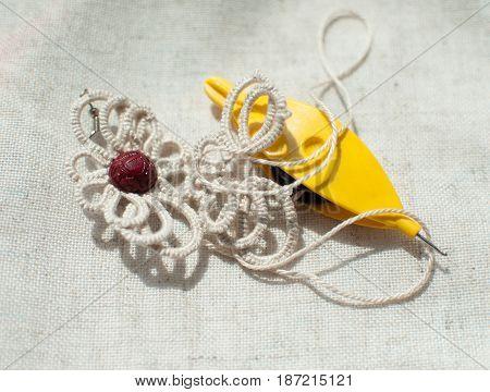 Handmade Beige Lace Earrings, Frivolite Ankars Technique.