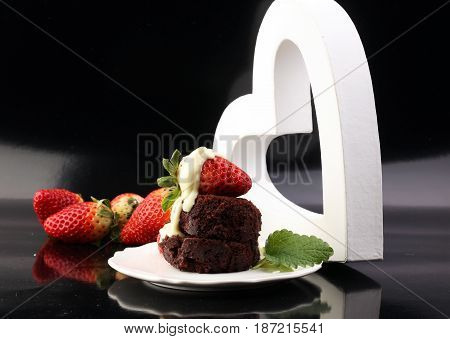Cake For Valentine Day With Chocolate, White Chocolate And Strawberries