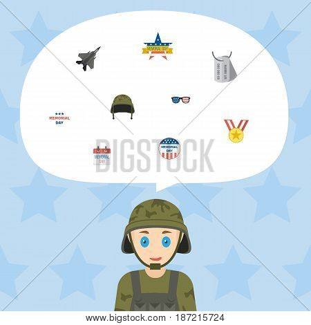 Flat History, Soldier Helmet, Memorial Day And Other Vector Elements. Set Of History Flat Symbols Also Includes Day, Medallion, Headgear Objects.