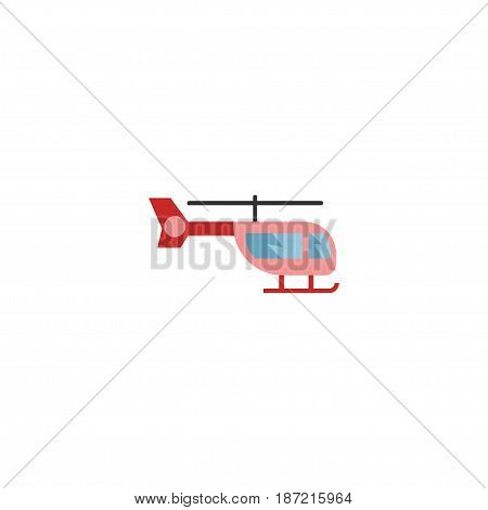 Flat Helicopter Element. Vector Illustration Of Flat Chopper Isolated On Clean Background. Can Be Used As Helicopter, Chopper And Air Symbols.