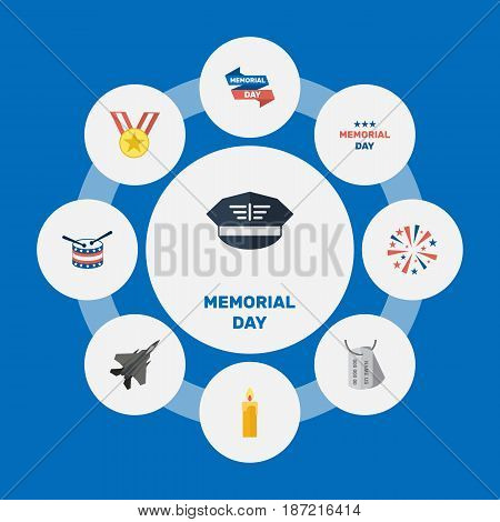 Flat Hat, Holiday, Ribbon And Other Vector Elements. Set Of Memorial Flat Symbols Also Includes Medal, Medallion, Memorial Objects.