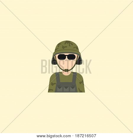 Flat Soldier Element. Vector Illustration Of Flat Military Man Isolated On Clean Background. Can Be Used As Soldier, Military And Man Symbols.