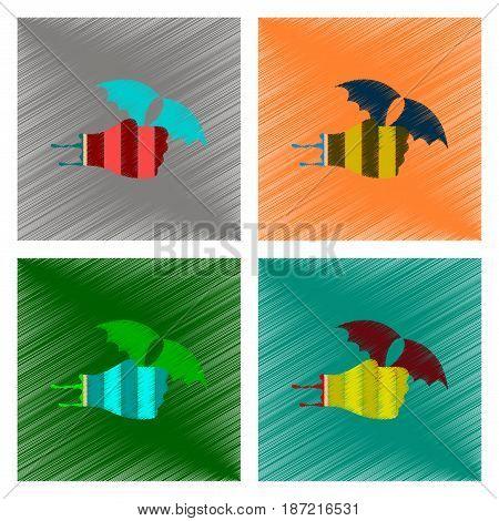 assembly flat shading style icon of hand bat