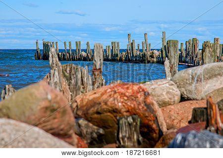 Engures breakwater. The Gulf of Riga. Baltic Sea