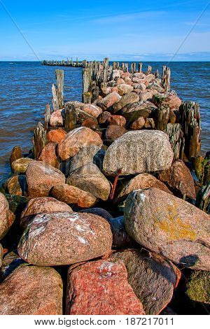 Engures breakwater. The Gulf of Riga. Baltic Sea